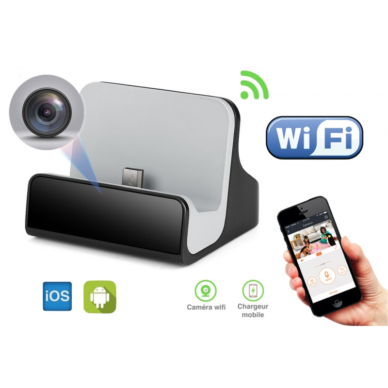 chargeur cam ra espion wifi full hd pour mobile android. Black Bedroom Furniture Sets. Home Design Ideas